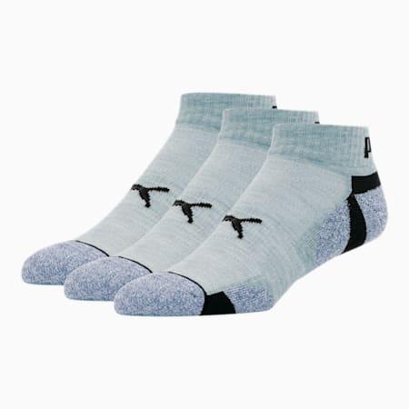 Men's Extended Heel/Toe Quarter Crew Socks [3 Pack], GREY / BLACK, small